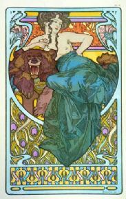 Vintage art deco poster - Woman and bear